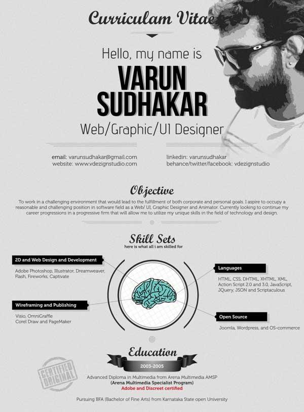 contoh desain resume  cv  unik untuk inspirasi