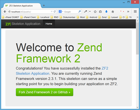 Cara Install Skeleton Application di Zend Framework 2