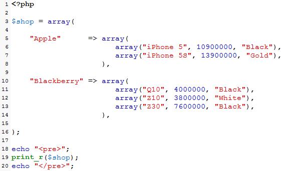 Fungsi print_r Pada PHP