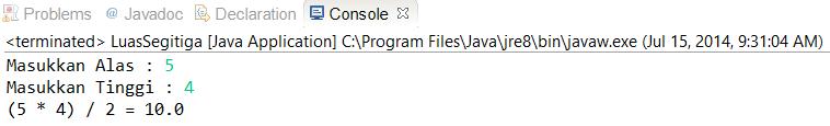 Membuat Program Menghitung Luas Segitiga Di Java