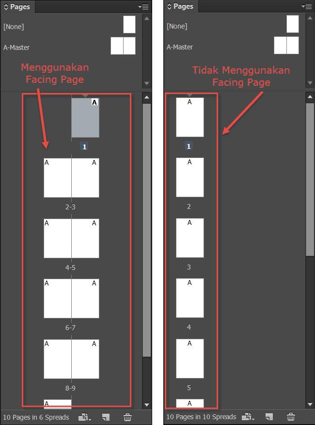 Facing Page pada InDesign