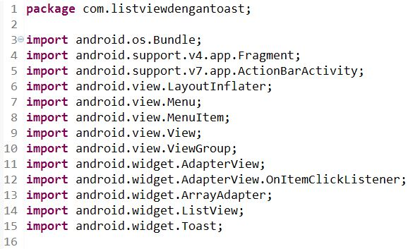 Cara Membuat ListView Dengan Toast di Android