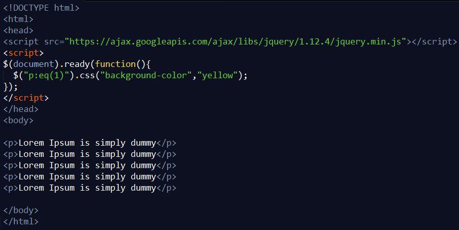 Penggunaan Selector :eq() pada JQuery