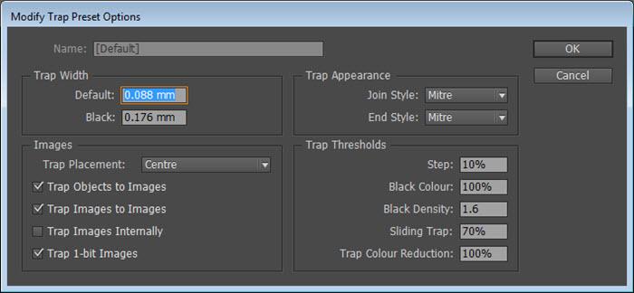 Trap Preset di Adobe Indesign